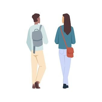 Étudiants homme et femme avec sacs à dos vue arrière personnages de dessins animés plats isolés vecteur université