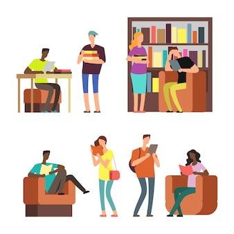 Étudiants internationaux lisant des livres et des magazines vector illustration