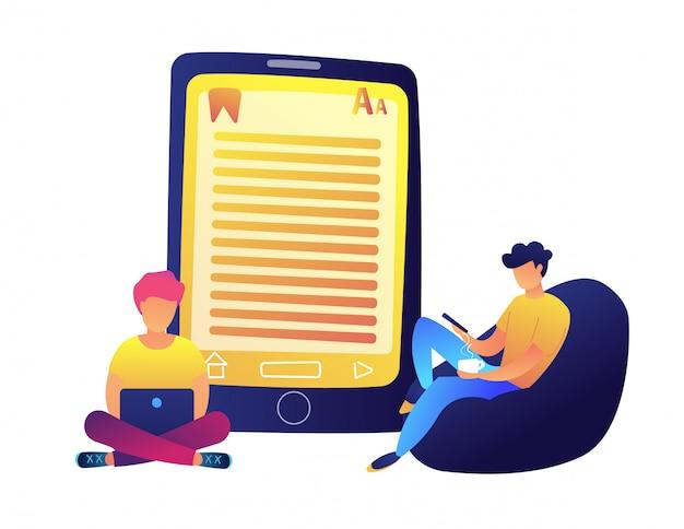 Étudiants lisant un livre électronique et une énorme illustration vectorielle de tablette.