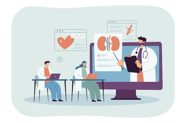 Étudiants en médecine regardant un webinaire pendant les cours