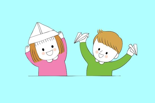 Étudiants mignons de bande dessinée jouant le vecteur de papier.