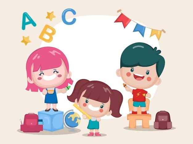 Étudiants mignons souriant joyeusement dans une salle de classe
