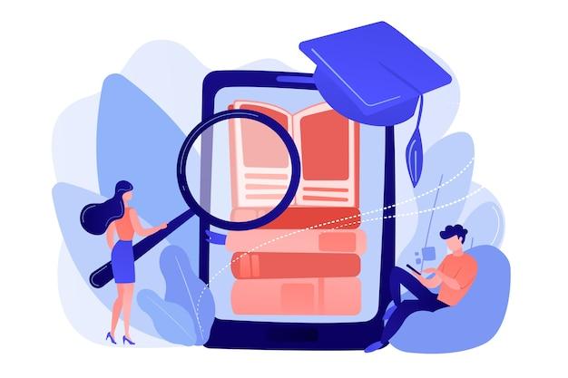 Étudiants avec pile de lecture loupe de livres électroniques dans l'application d'éducation pour smartphone