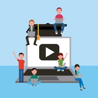 Les étudiants qui étudient en ligne enseignent l'éducation