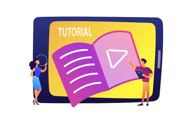 Les étudiants regardent le tutoriel sur l'illustration vectorielle tablette.
