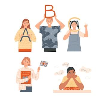 Etudier l'anglais. les enfants apprennent leur langue maternelle ou étrangère.