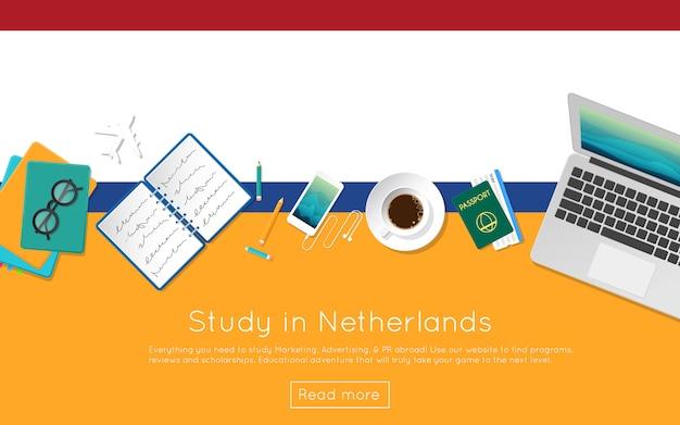 Étudier aux pays-bas concept pour votre bannière web