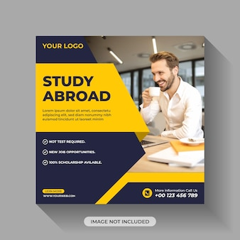 Étudier à l'étranger creative social media post template design premium vector