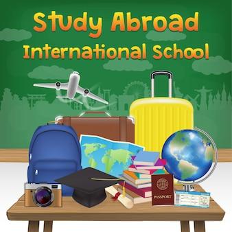 Étudier à l'étranger international école bannière affiche