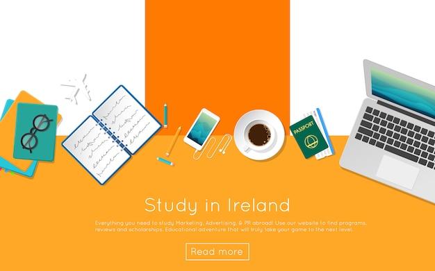 Étudier en irlande concept pour votre bannière web