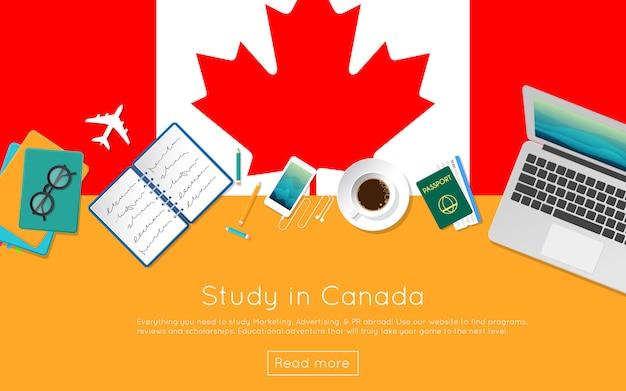 Étudiez au canada le concept de votre bannière web ou de vos documents imprimés. vue de dessus d'un ordinateur portable, de livres et d'une tasse de café sur le drapeau national. en-tête de site web d'étude de style plat à l'étranger.