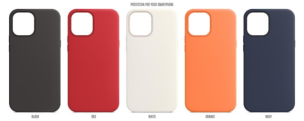 Étuis en silicone pour smartphones isolés