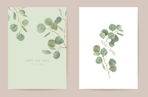 Eucalyptus de mariage, branches de feuilles vertes floral save the date set. carte d'invitation de boho de verdure de feuilles exotiques de vecteur. cadre de modèle aquarelle, couverture de feuillage, affiche moderne, design tendance