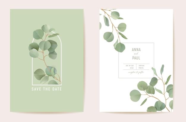 Eucalyptus de mariage, branches de feuilles vertes floral save the date set. carte d'invitation de boho de verdure de feuilles réalistes de vecteur. cadre de modèle aquarelle, couverture de feuillage, affiche moderne, design tendance