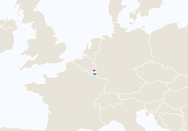 Europe avec carte luxembourgeoise en surbrillance. illustration vectorielle.