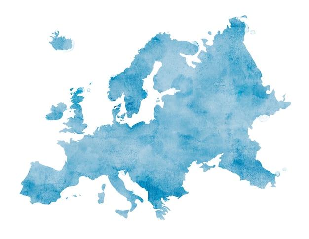 Europe isolée colorée à l'aquarelle