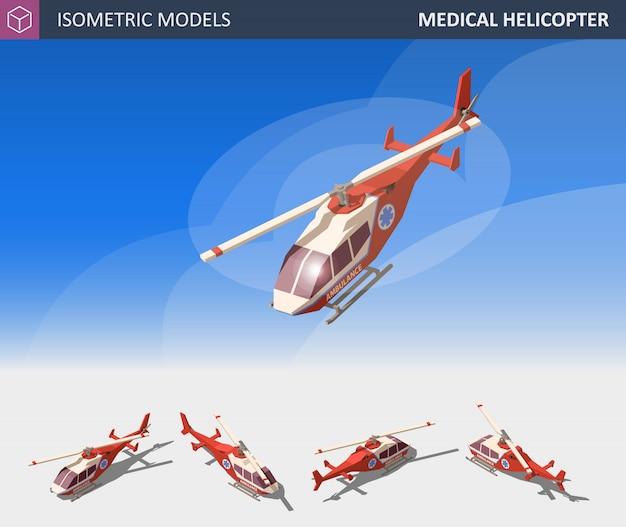 Évacuation d'hélicoptère médical isométrique. service médical aérien.