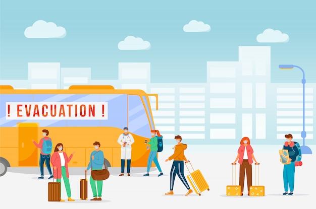 Évacuation d'urgence en bus