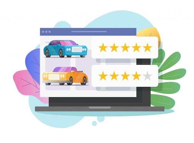 Évaluation des avis de voiture en ligne sur ordinateur portable ou commentaires de témoignages automobiles et réputation des clients