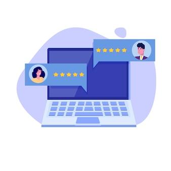 Evaluation client en ligne, concept de révision. évaluation de la convivialité. feedback, concept de notation, gestion de la réputation. illustration vectorielle