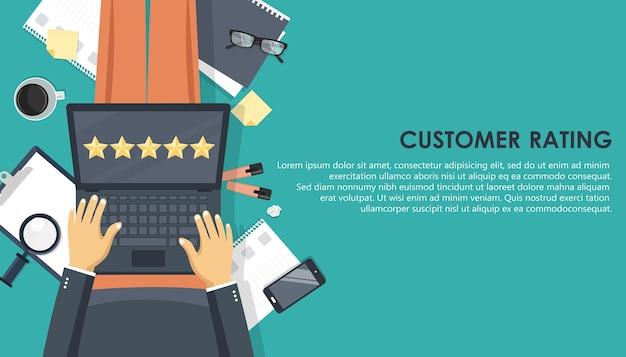 Évaluation des clients sur ordinateur portable