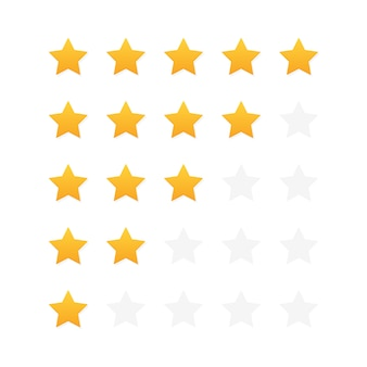 Évaluation des clients par cinq étoiles