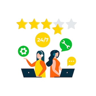 Évaluation des commentaires des clients hotline de consultation des clients support technique traitement du centre d'appels