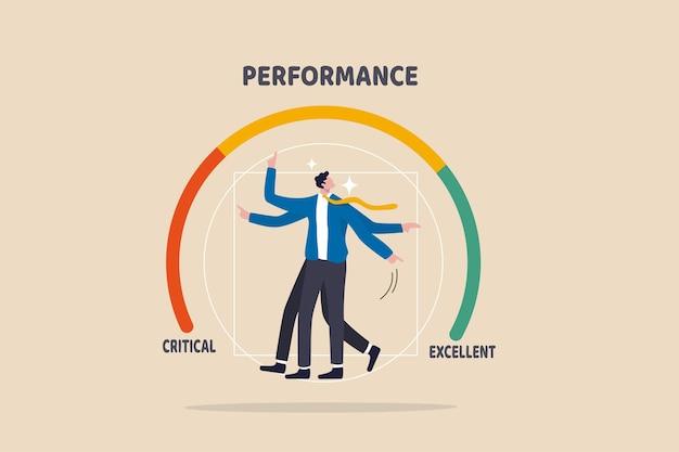 Évaluation des employés, évaluation pour l'évaluation des performances au travail, évaluation pour le concept de bonus de performance, homme d'affaires au milieu d'un indicateur de jauge pointant pour évaluer la note annuelle.