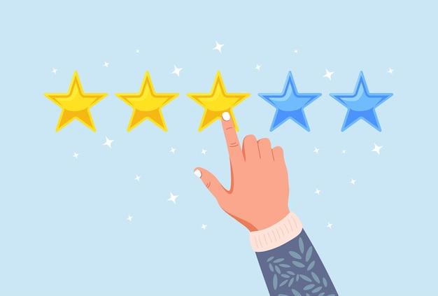 Évaluation étoilée. commentaires des clients, avis des clients. sondage pour le service marketing