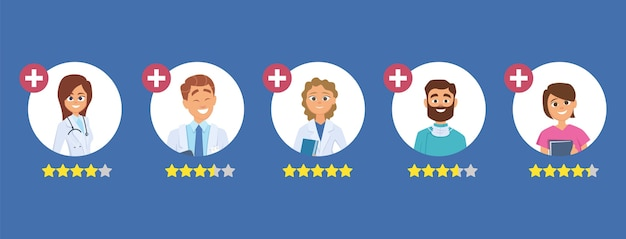 Évaluation des médecins. concept de classement cinq étoiles. cherchez un bon docteur. le personnel médical examine l'illustration. évaluation du médecin de santé, avis du médecin