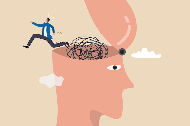 Évasion, évasion d'un esprit déprimé impacté par la pandémie de covid-19, sortie ou sortie de dépression, anxiété ou concept de verrouillage stressé, l'homme s'enfuit en s'échappant d'un cerveau enchevêtré sur sa tête ouverte.