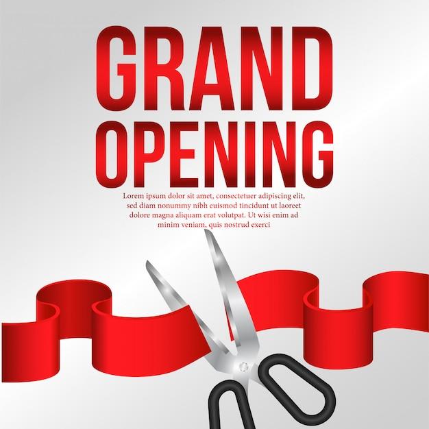 Événement d'affiche de la grande ouverture avec la coupe du ruban rouge