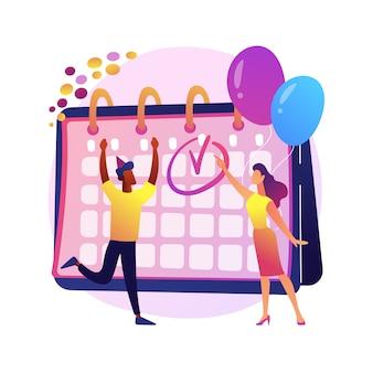 Événement de calendrier festif, fête de célébration de vacances. planification du calendrier de travail, gestion de projet, idée de délai. gestionnaires de bureau, collègues enthousiastes.