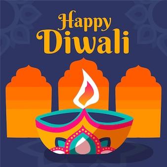 Événement diwali bougie colorée design plat