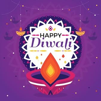 Événement diwali design plat avec bougie