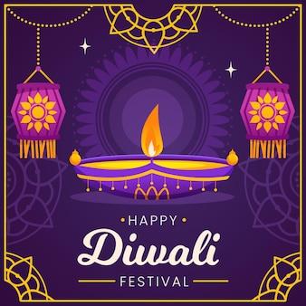 Événement de diwali avec un design plat de bougie