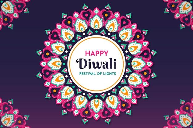 Événement de diwali formes colorées design plat