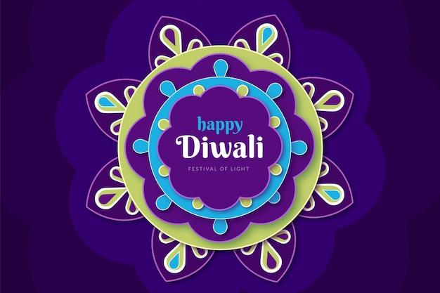 Événement de diwali heureux design plat