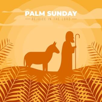 Événement du dimanche des palmiers à plat