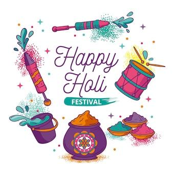 Événement du festival holi dessiné à la main