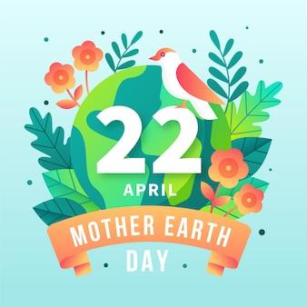 Événement du jour de la terre mère design plat