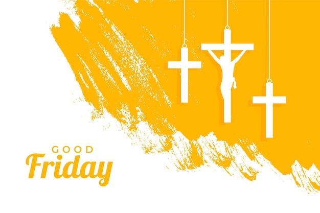 Événement du vendredi saint avec des croix suspendues