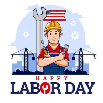 Événement de la fête du travail dessiné à la main aux états-unis