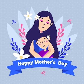 Événement de la fête des mères au design plat