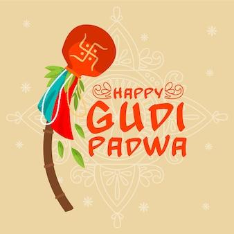 Événement gudi padwa dessiné à la main