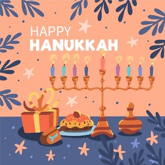 Événement de hanoucca dessiné à la main