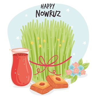 Événement happy nowruz dessiné à la main