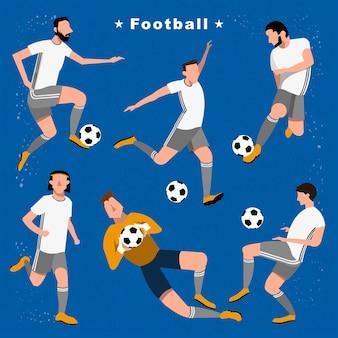 Événement de jeu d'été de collection de joueurs de football dans un style plat