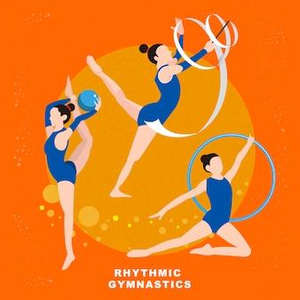 Événement de jeu d'été de gymnastique rythmique dans un style plat