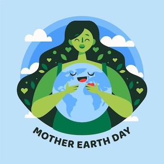 Événement de jour de la terre mère plate